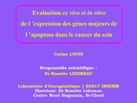 Evaluation ex vivo et in vitro