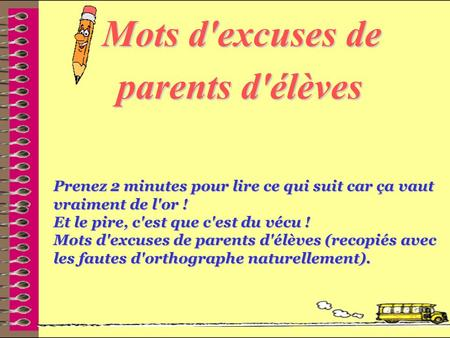 Mots d'excuses de parents d'élèves