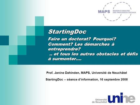 StartingDoc Faire un doctorat. Pourquoi. Comment