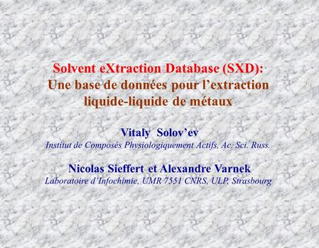Solvent eXtraction Database (SXD):