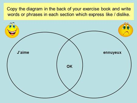 Copy the diagram in the back of your exercise book and write words or phrases in each section which express like / dislike. J'aimeennuyeux OK.