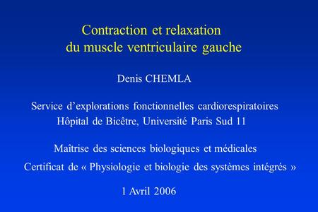 Contraction et relaxation du muscle ventriculaire gauche
