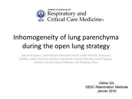 Inhomogeneity of lung parenchyma during the open lung strategy Salvatore Grasso, Tania Stripoli, Marianna Sacchi, Paolo Trerotoli, Francesco Staffieri,