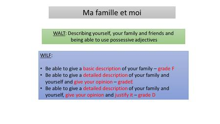 Ma famille et moi WALT: Describing yourself, your family and friends and being able to use possessive adjectives WILF: Be able to give a basic description.