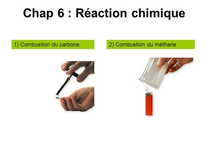 Chap 6 : Réaction chimique 1) Combustion du carbone2) Combustion du méthane.
