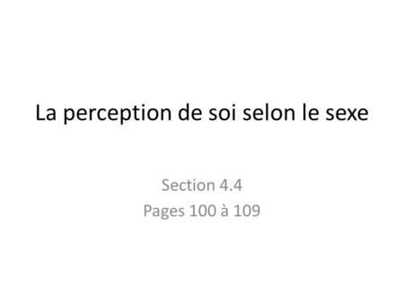 La perception de soi selon le sexe