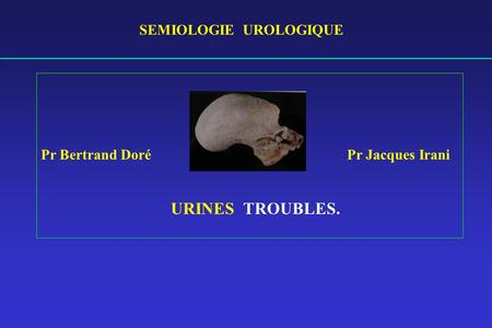 SEMIOLOGIE UROLOGIQUE Pr Bertrand Doré Pr Jacques Irani URINES TROUBLES.