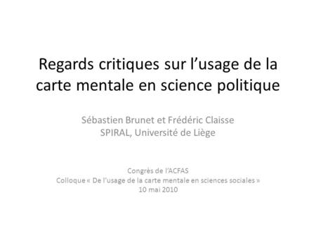 Regards critiques sur l'usage de la carte mentale en science politique