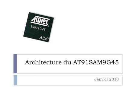 Architecture du AT91SAM9G45 Janvier 2013. Pulse Width Modulation Modulation par largeur d'impulsion 2.