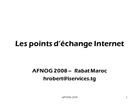 Les points d'échange Internet