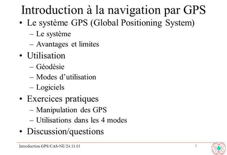 Introduction à la navigation par GPS