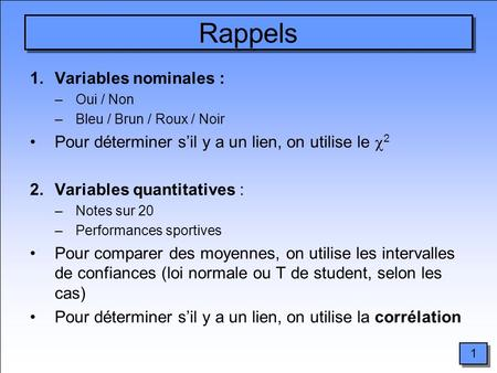 Rappels Variables nominales :