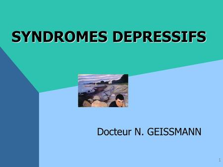 1 SYNDROMES DEPRESSIFS Docteur N. GEISSMANN 2 DEFINITION CIM X.