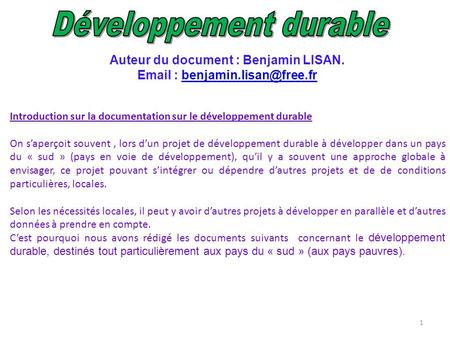 Auteur du document : Benjamin LISAN.   Introduction sur la documentation sur le développement durable.