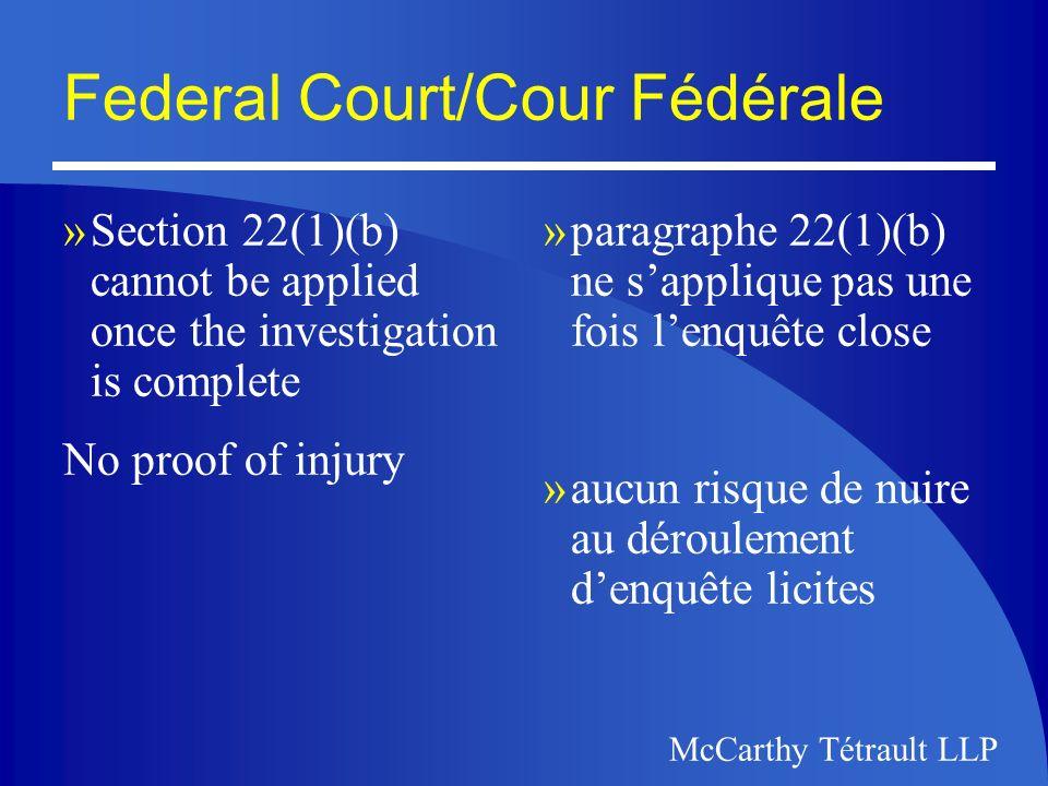 McCarthy Tétrault McCarthy Tétrault LLP The Supreme Court of Canada Cour Suprême du Canada