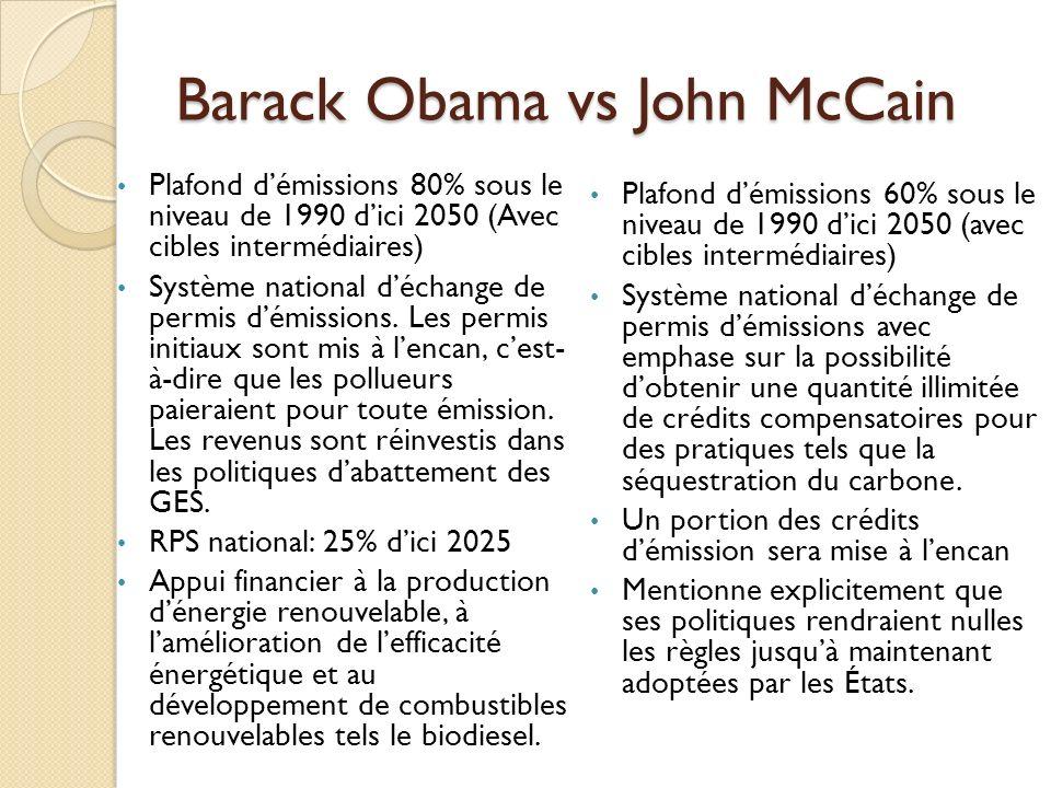 Obama vs McCain (international) Obama souhaite: Créer un forum international de discussion incluant les plus gros émetteurs de GES du monde (G-8 + Brésil, Chine, Inde, Mexique et Afrique du Sud) Se réengager dans le processus de la Convention-Cadre des Nations Unies sur les changements climatiques McCain promet: Engager la Chine et lInde dans le processus de négociation dun accord post-Kyoto 2012.