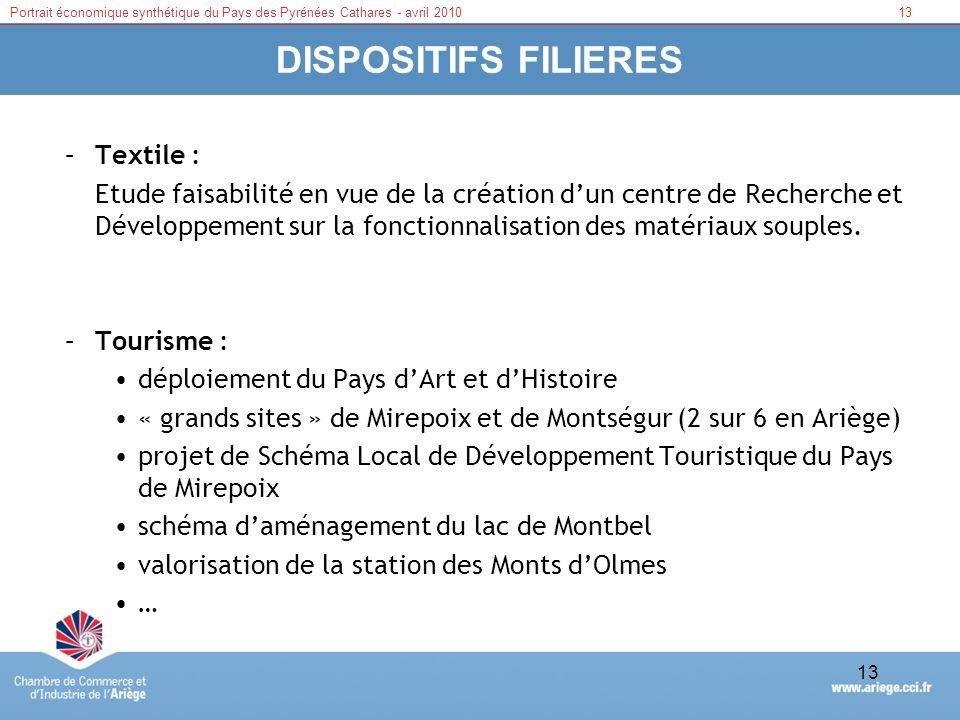 14Portrait économique synthétique du Pays des Pyrénées Cathares - avril 2010 14 DISPOSITIFS DAPPUI (suite) Fonds de développement –Plan opérationnel de Revitalisation du Pays dOlmes –Fonds National de Revitalisation des Territoires (FNRT) –Plate Forme dInitiative Locale Ariège Initiative –Dispositifs dappui régionaux et européens