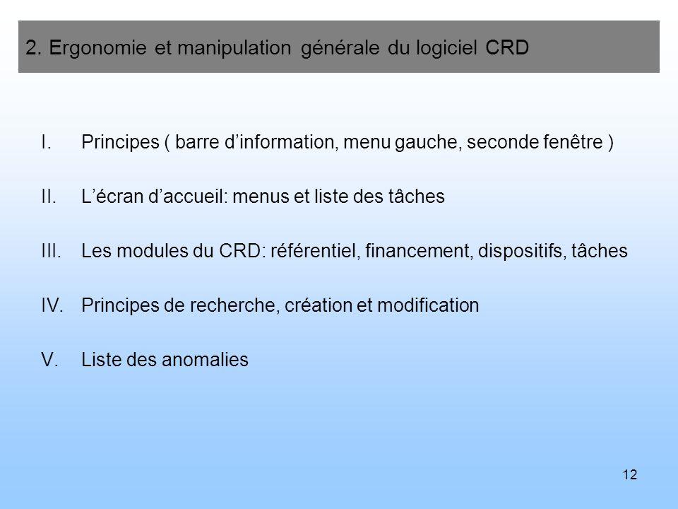13 2.Ergonomie et manipulation générale du logiciel CRD I.