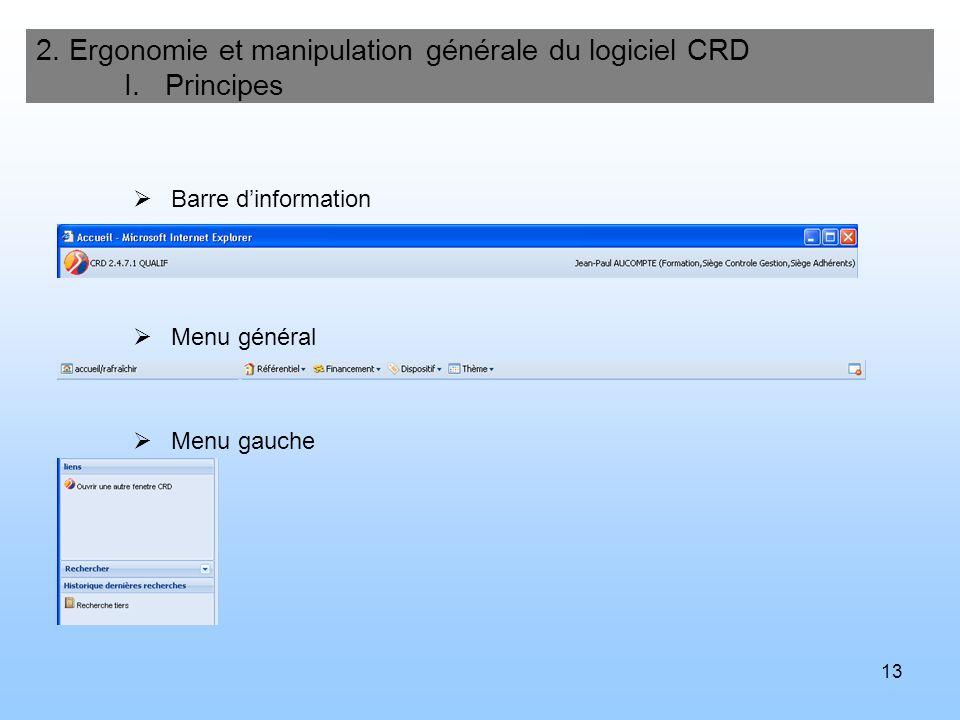 14 Seconde fenêtre 2.Ergonomie et manipulation générale du logiciel CRD I.