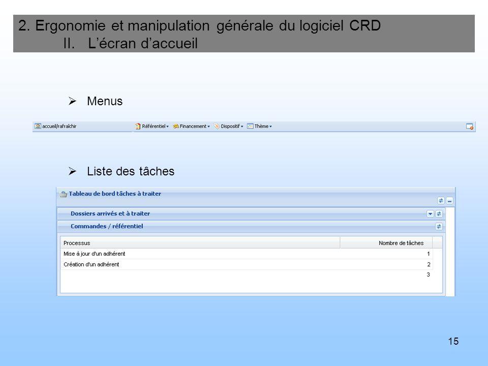 16 2.Ergonomie et manipulation générale du logiciel CRD III.