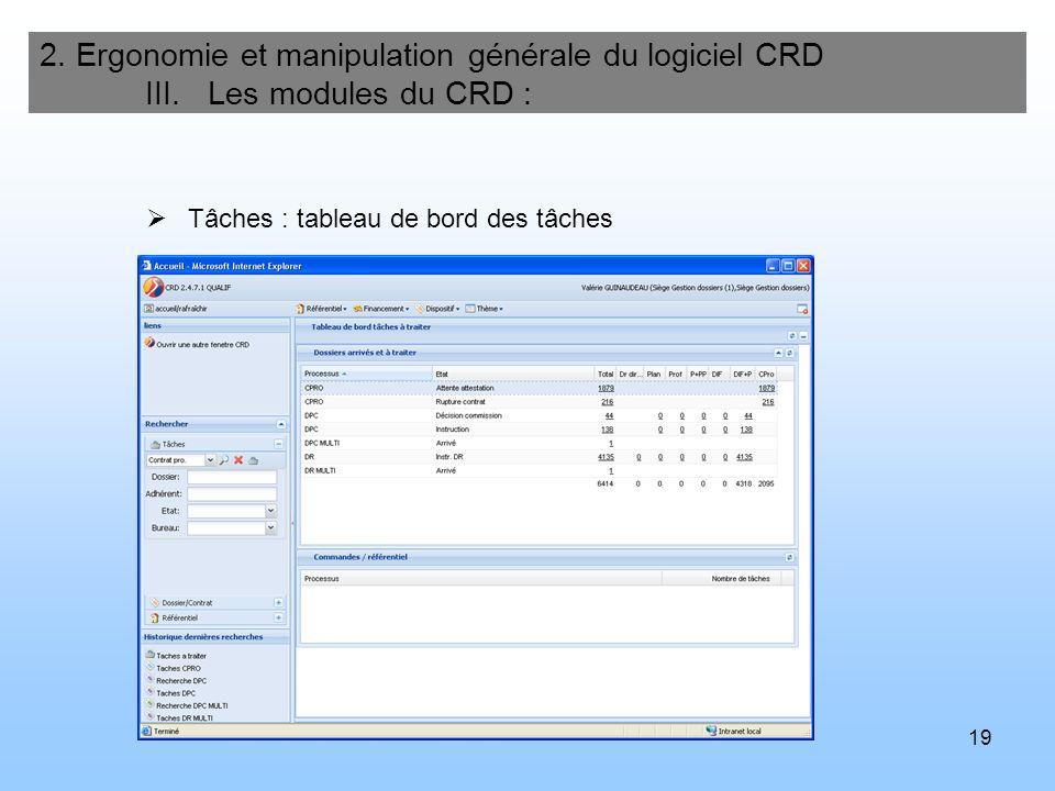 20 2.Ergonomie et manipulation générale du logiciel CRD III.