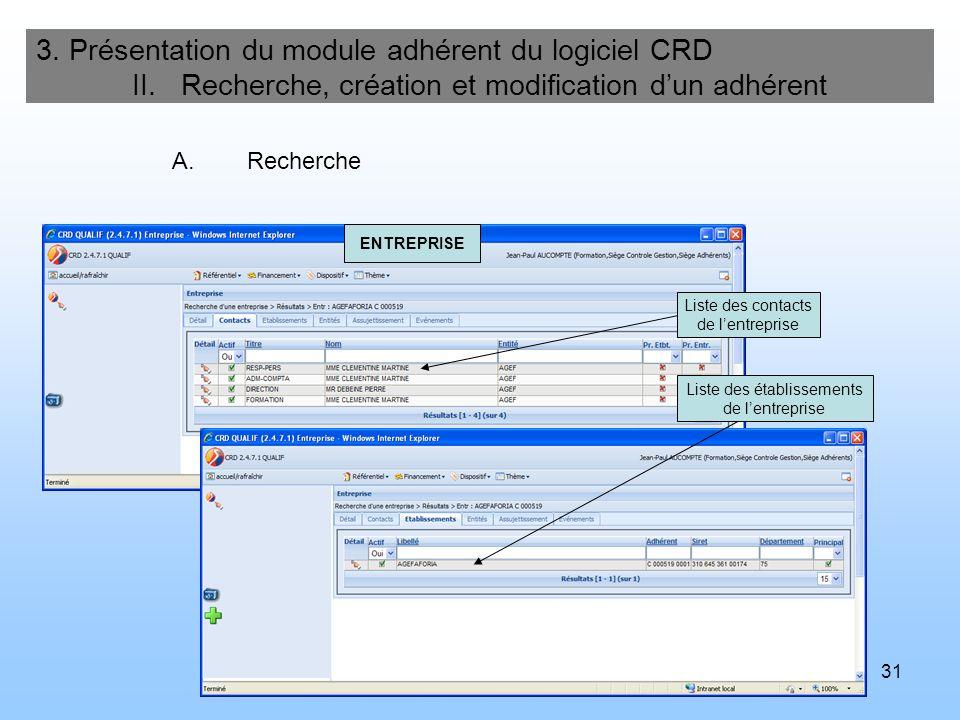 32 3.Présentation du module adhérent du logiciel CRD II.