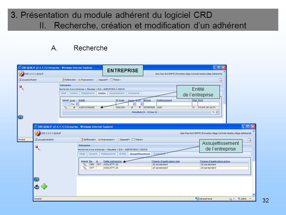 33 3.Présentation du module adhérent du logiciel CRD II.