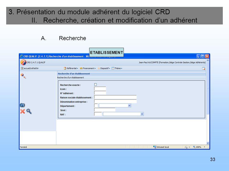 34 3.Présentation du module adhérent du logiciel CRD II.
