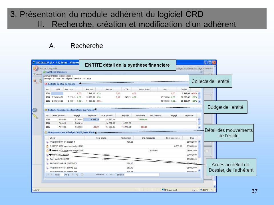 38 3.Présentation du module adhérent du logiciel CRD II.
