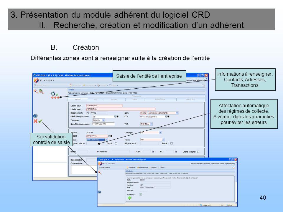 41 3.Présentation du module adhérent du logiciel CRD II.