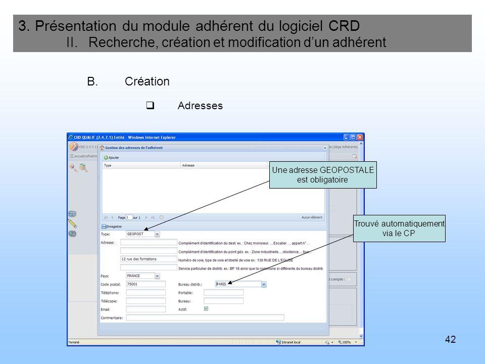 43 3.Présentation du module adhérent du logiciel CRD II.