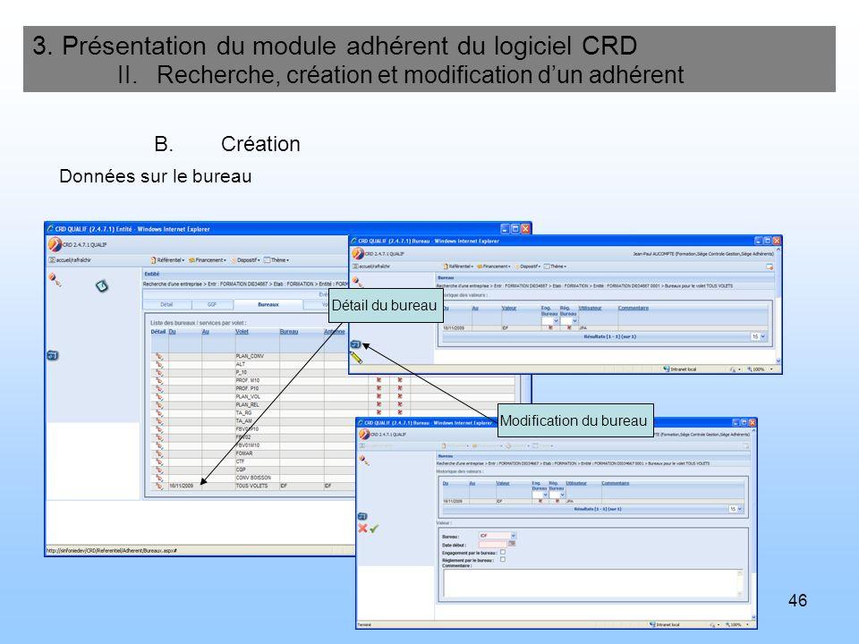 47 3.Présentation du module adhérent du logiciel CRD II.
