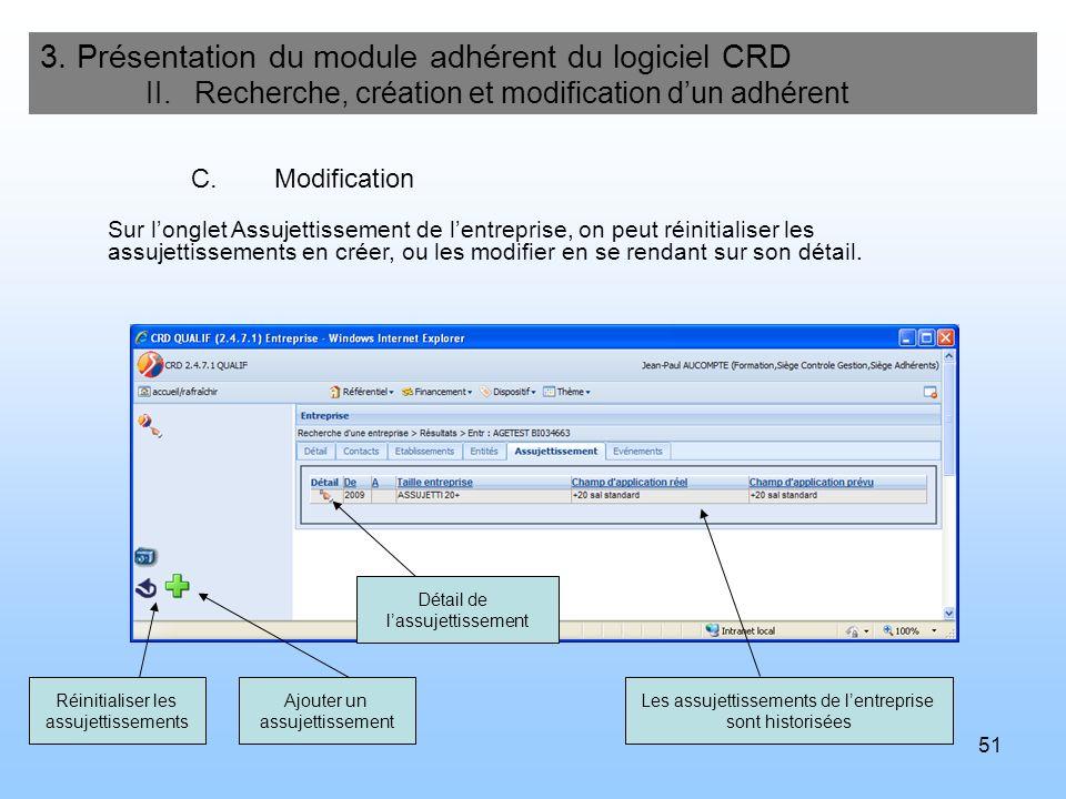 52 3.Présentation du module adhérent du logiciel CRD II.