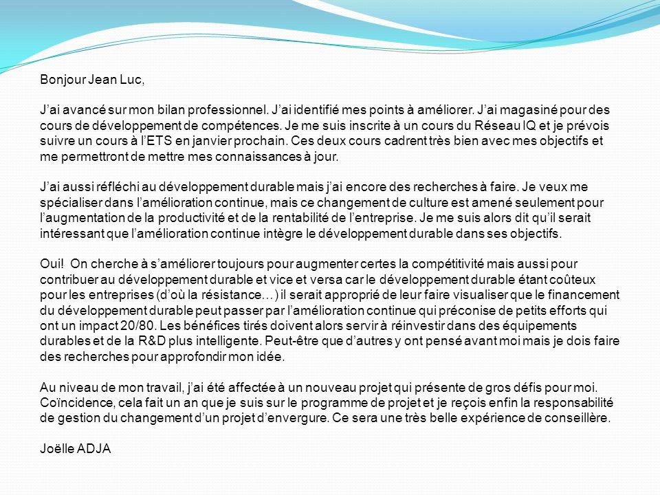 Bonjour Jean Luc, Jai avancé sur mon bilan professionnel.