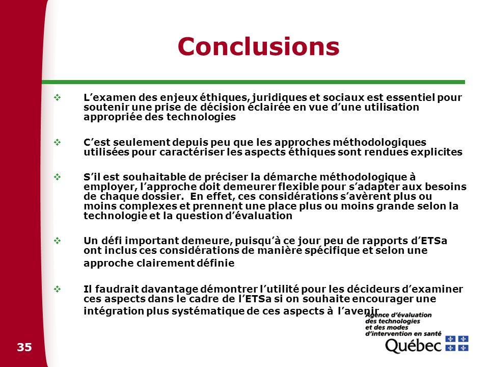 36 Rapports cités Agence dévaluation des technologies et des modes dintervention en santé (AETMIS).