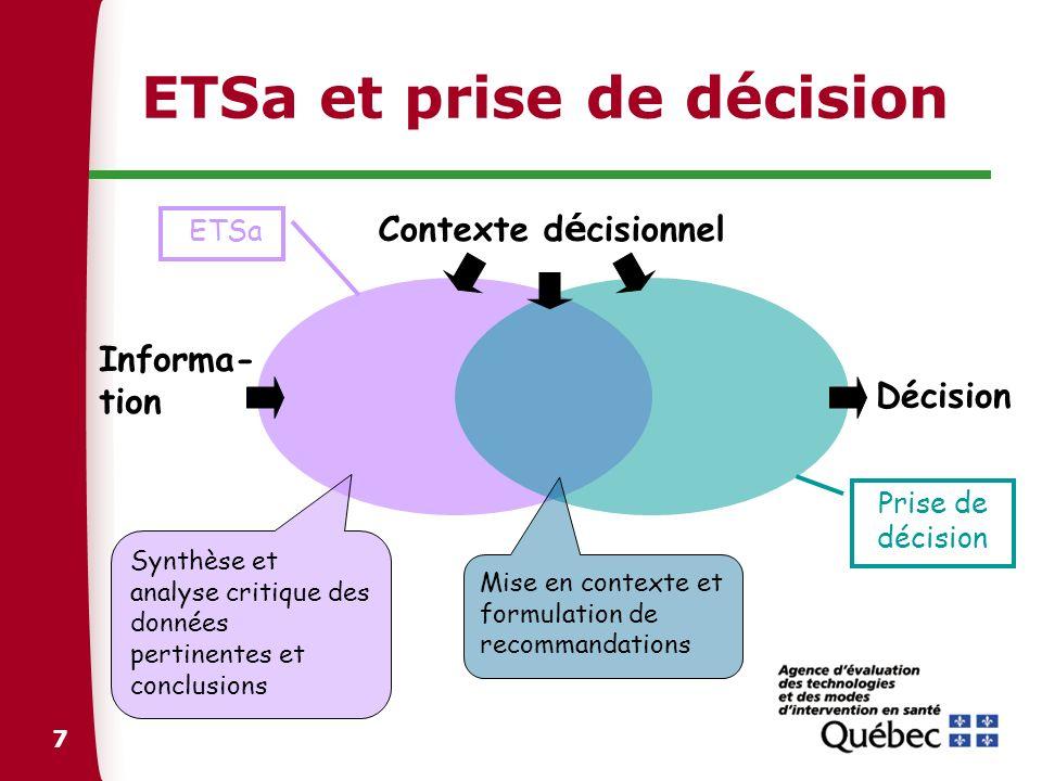 8 Contributions de lETSa Modèle 1 : Fournisseur de données objectives (Ex.: Cochrane) LETSa inclut la synthèse et lanalyse critique des écrits scientifiques et des conclusions (assessment).