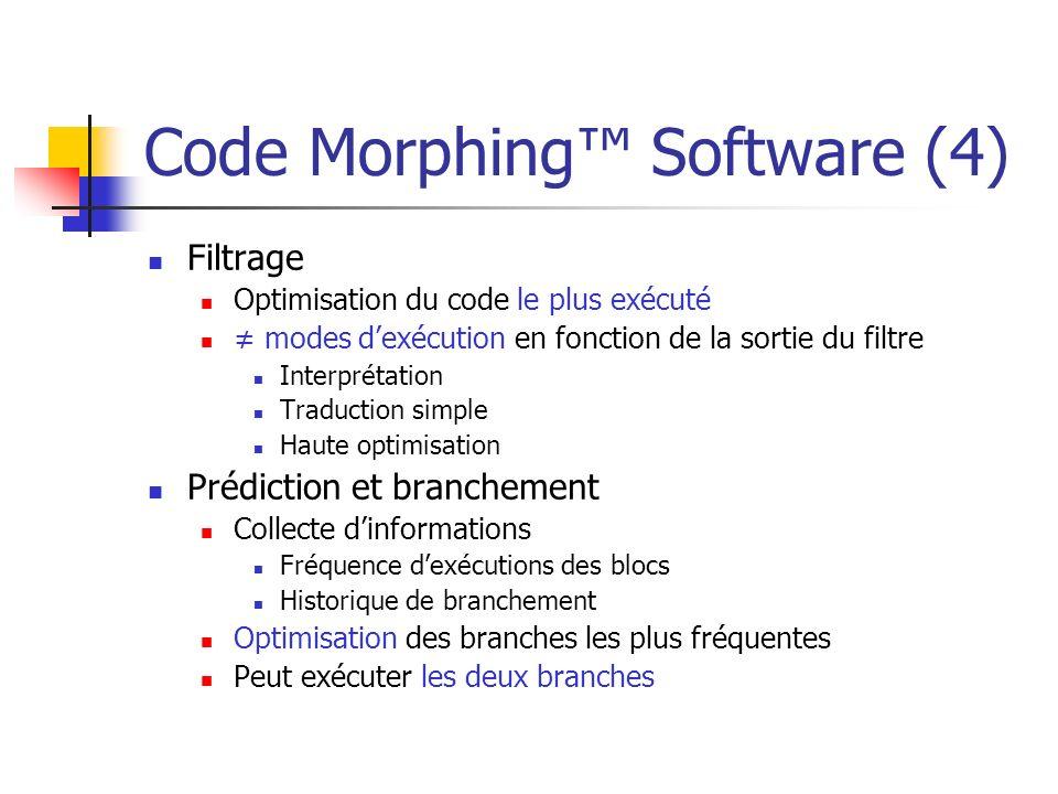 Code Morphing Software (5) Étapes du Code Morphing Software Traduction x86 ISA VLIW ISA Optimisation du code x86 Élimination des sous expressions Code invariant des boucles retiré Ordonnancement Création des molécules