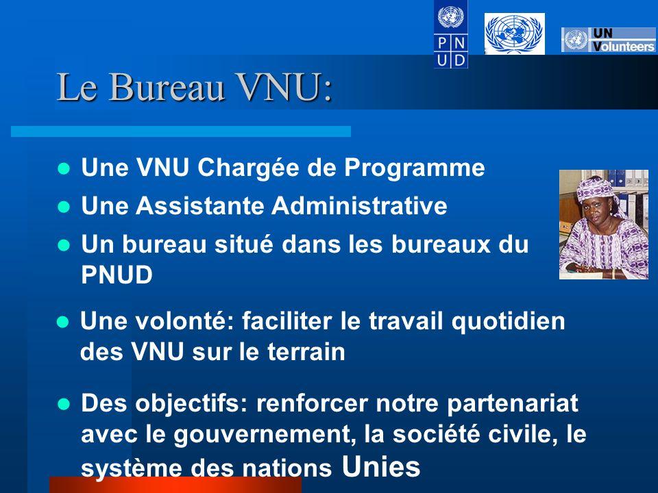 Le Bureau VNU: Un bureau situé dans les bureaux du PNUD Une volonté: faciliter le travail quotidien des VNU sur le terrain Des objectifs: renforcer notre partenariat avec le gouvernement, la société civile, le système des nations Unies Une VNU Chargée de Programme Une Assistante Administrative