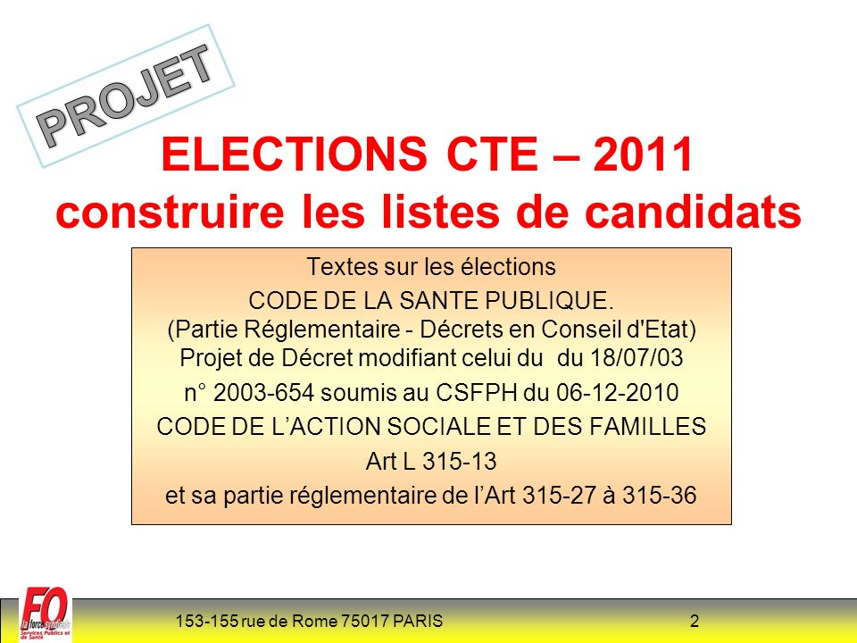 153-155 rue de Rome 75017 PARIS 3 La Loi 2010-751 du 5 juillet 2010 portant sur la rénovation du dialogue social dans la Fonction Publique issue des accords de Bercy de 2008 (non signé par F.O) établit des nouvelles règles sur les élections dans la FPH.