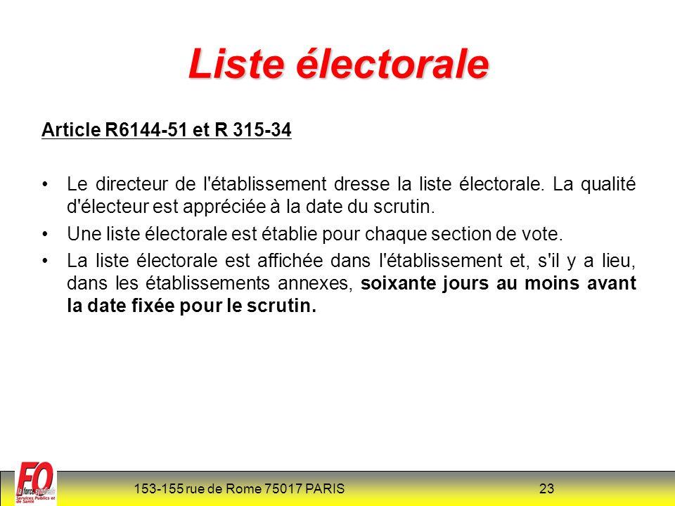 153-155 rue de Rome 75017 PARIS 24 Liste électorale Article R6144-52 et R 315-35(nouveau) La liste électorale ainsi close est transmise sur leur demande, aux O.S remplissant, dans la FPH, les conditions fixées à lart 9 bis de la loi n° 83-634 du 13-07-83 et constituées dans létablissement ou au niveau départemental, ou au niveau national Article R6144-52-1 (nouveau) Le nombre de sièges à pourvoir par collège est annexé à la liste électorale et affiché dans les mêmes conditions.