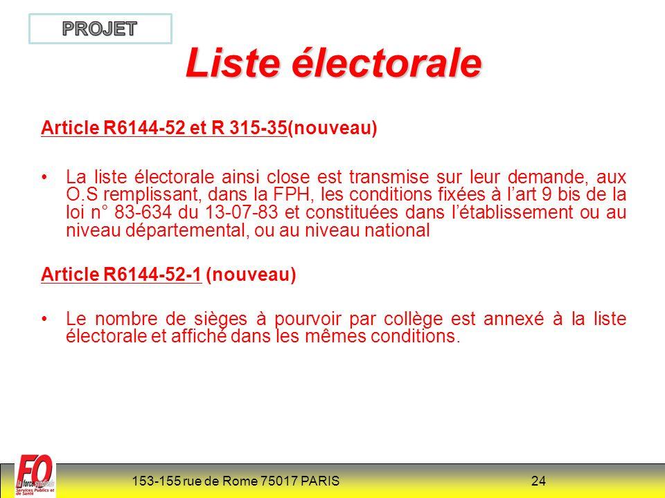 153-155 rue de Rome 75017 PARIS 25 La liste des candidats Article R6144-53 et R 315-36 Sont éligibles au titre d un collège déterminé les personnels inscrits sur la liste électorale de ce collège et qui, à la date du scrutin, sont en fonction depuis au moins trois mois dans l établissement.