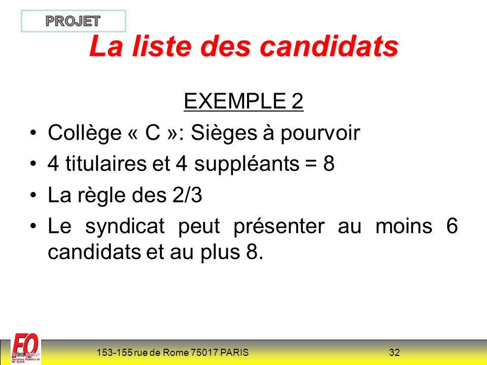 153-155 rue de Rome 75017 PARIS 33 Article R6144-54 et R 315-37 (NOUVEAU) Si, pour un collège donné, une liste comporte, à la date limite de dépôt prévue à larticle R 6144-53-2 et R 315-36-2 ci-dessus, un nombre de candidats supérieur ou inférieur à celui fixé au quatrième alinéa, l organisation syndicale qui a déposé cette liste est réputée n avoir présenté aucun candidat pour ce collège.