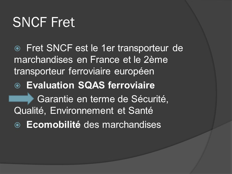 Concurrence 2007 : libéralisation du secteur du fret ferroviaire En France: Veolia, VFLI, Euro Cargo Rail (filière de Deutsche Bahn) Part de marché En Europe: nombreux acteurs, dont Deutsche Bahn (N°1)