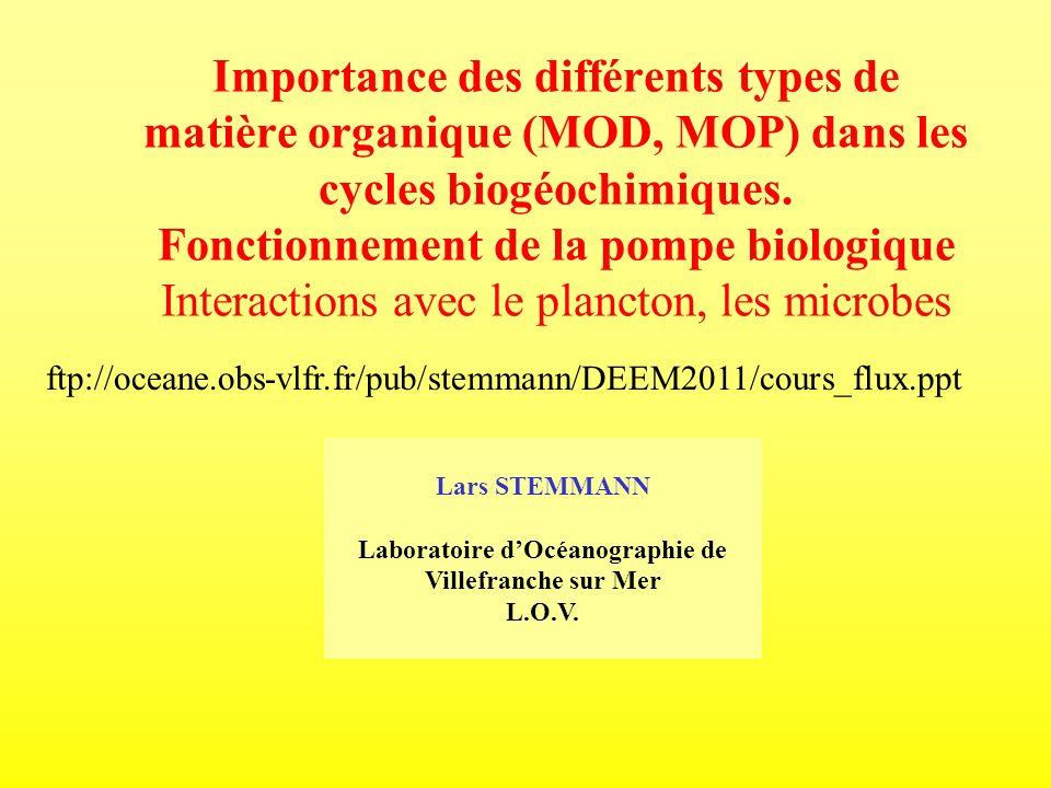 DEEM 2009, MU418 Objectifs du cours Introduction à la pompe biologique Les mécanismes à micro échelle La modélisation de ces mécanismes Les applications de ces modèles
