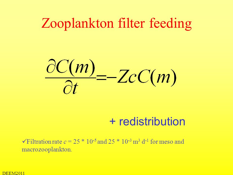 DEEM2011 Zooplankton flux feeding + redistribution Detection radius, r 1 and r 2 = 1 and 20 mm for meso and macrozooplankton.