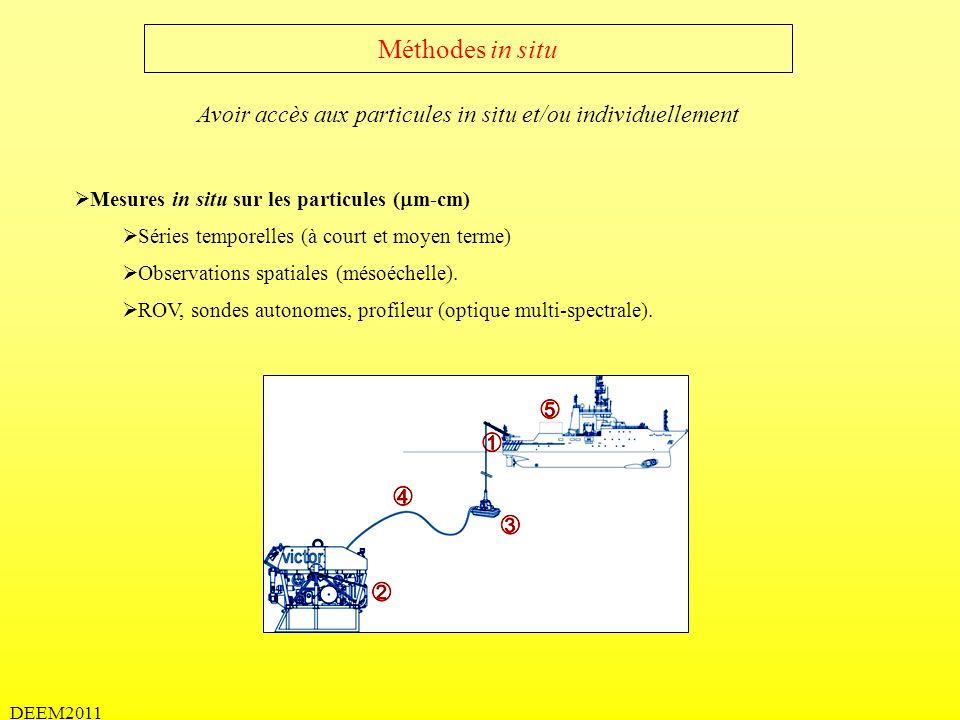 DEEM2011 Méthodes expérimentales Sur des particules individuelles Taille 1)Masse (CHN) 2)Vitesse 3)Colonisation (Bact.