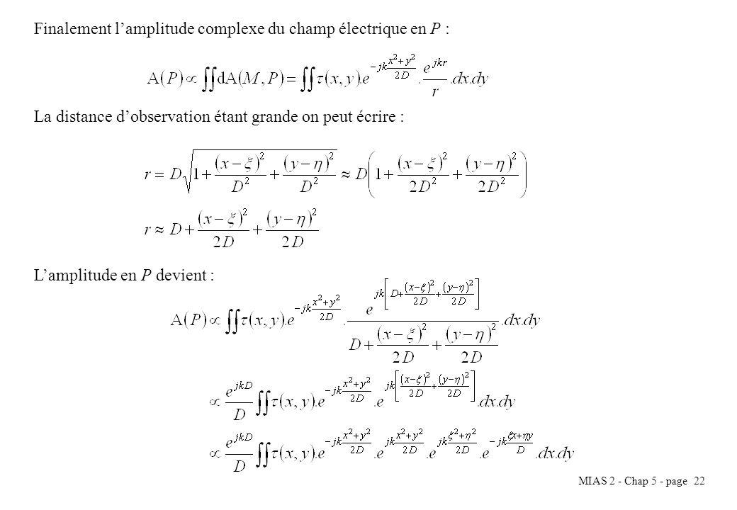 MIAS 2 - Chap 5 - page 23 On obtient après simplification : On reconnaît dans cette dernière écriture lexpression de la transformée de Fourier de la transparence (x,y).