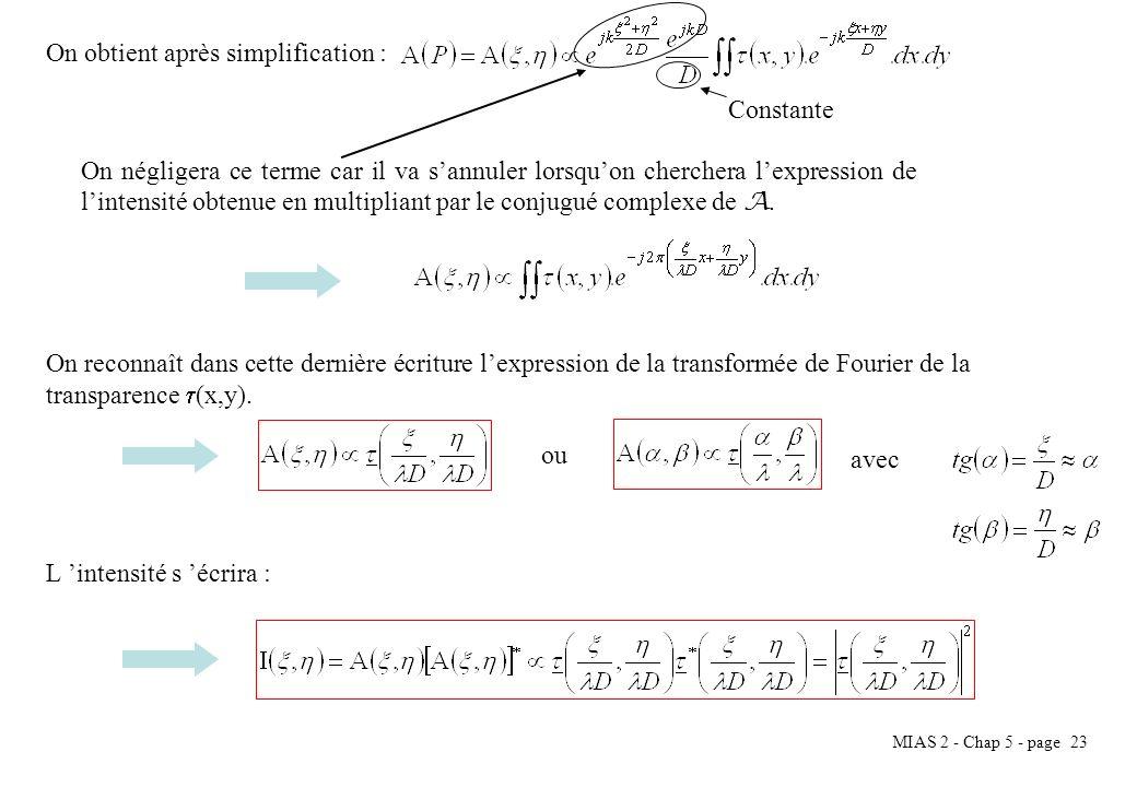 MIAS 2 - Chap 5 - page 24 VI.2.3 Exemples Fente infiniment longue La fonction transparente peut-être décrite par la fonction rectangle de largeur e : Lamplitude en un point P de lécran est proportionnelle à la transformée de Fourier de : Donc pour lintensité, on a : Avec I 0 léclairement maximal pour =0