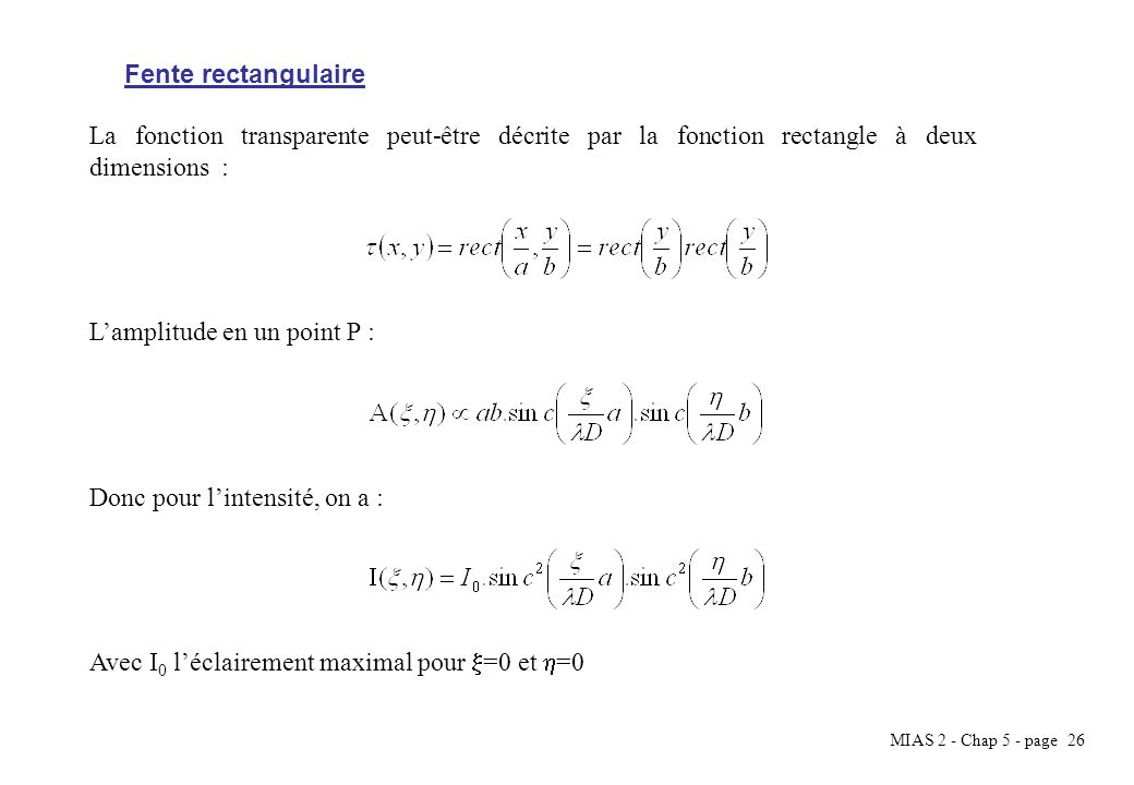 MIAS 2 - Chap 5 - page 27 Répartition en intensité de la diffraction dune fente rectangulaire.