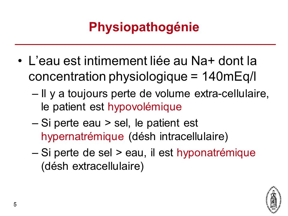 6 140 mEq 120 mEq 160 mEq Extra Cellulaire Intra Cellulaire [ Na+] H2O